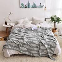 老式竹纤维毛巾被纯棉纱布单双人夏季薄款空调凉毯午睡被子 墨鱼 灰