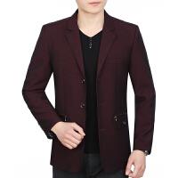 中年男士夹克衫中老年人男装春秋季商务修身外套男新款爸爸装
