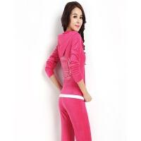 春秋韩版绣花卫衣金丝天鹅绒运动套装女休闲两件套运动服修身显瘦