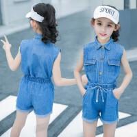 女童套装2019新款5夏装6韩版7儿童装9女孩时髦牛仔两件套潮衣