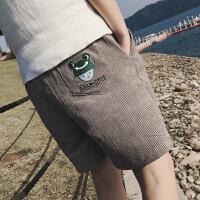 2018夏季新款男士加肥加大码灯芯绒短裤男胖子刺绣沙滩五分裤青年