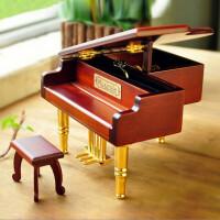木质钢琴音乐盒八音盒 天空之城钢琴模型七夕情人节礼物送女友闺蜜女生生日礼物送女儿男女孩儿童 复古钢琴音乐盒