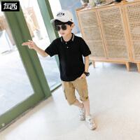 【119元4件:29.8元】左西男童夏装短袖t恤2020新款儿童POLO衫上衣中大童翻领韩版潮衣