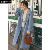 毛呢外套冬季新款韩版蓝色手工双面羊绒大衣女中长款宽松呢子外套 蓝色