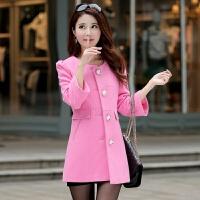 20秋冬韩版大码圆领七分袖毛呢大衣女装中长款收腰显瘦妮子外套