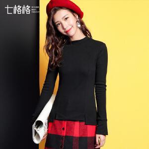 七格格长袖t恤女秋冬装新款2017韩版修身外穿百搭学生半高领打底衫上衣