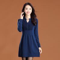 中长款羊绒衫女貂绒毛衣裙打底秋冬季低领内搭新款套头连衣裙 3X