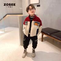 左西童装男童外套秋冬儿童棉衣加绒洋气韩版羊羔绒中大童2020新款