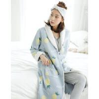 富朵春秋月子服空气层夹棉加厚长款睡袍冬季保暖孕产妇哺乳喂奶衣