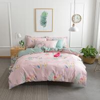 北欧风棉棉四件套学生宿舍小清新床单三件套被罩简约床品套件