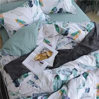 四件套全棉纯棉田园风小清新床单被套1.5m床笠三件套夏季床上用品 2.0m(6.6英尺)床 床单款