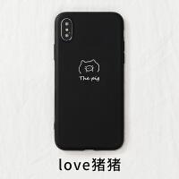 卡通猫狗手机壳夏季个性情侣vivox23三星s10plus苹果x荣耀10小米8 华为p30nova4 love猪猪 黑