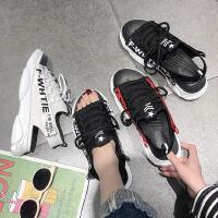 新款松糕鞋子女士百搭厚底运动凉鞋女 韩版沙滩罗马鞋漏趾系带凉鞋女