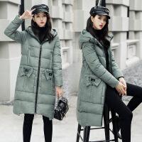棉衣女中长款韩版连帽领2017冬季新款修身百搭外套