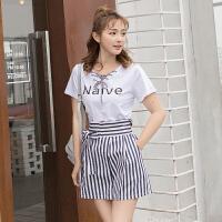 时尚休闲套装女夏季2018新款韩版学生短袖T恤短裤宽松显瘦两件套