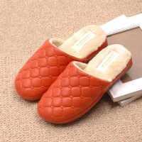 秋冬季新款情侣款防水PU皮棉拖鞋女士居家日用室内防滑保暖棉拖鞋
