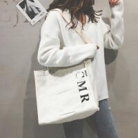 帆布包女单肩手提大包包女新款时尚斜挎包大容量简约购物袋