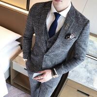 西服套装男士三件套韩版修身小西装商务职业正装伴郎新郎结婚礼服