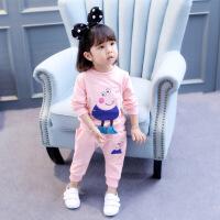0儿童装秋装2女童运动套装新款韩版周岁女宝宝小猪佩奇衣服5春秋3 粉