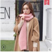 粉色甜美围脖保暖纯色简约围巾女士韩版百搭加厚毛线针织