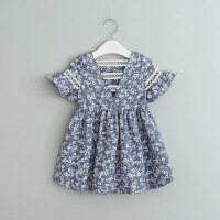 夏季新款女童印花青花瓷碎花�B衣裙中小童����后背�U空裙