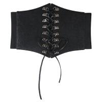 欧美女士装饰宽腰带流苏系带复古连衣裙衬衫黑蝴蝶结绑带腰封配饰 黑色