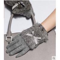 时尚韩版保暖触摸屏手套加厚保暖可爱兔毛女骑车手套女士手套 可礼品卡支付