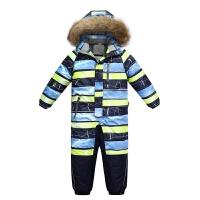 冬季加厚大童男女连体滑雪服套装防水保暖单双板连身滑雪衣 X