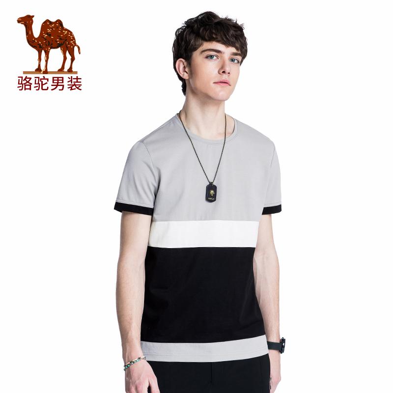 骆驼男装 2018年夏季新款时尚圆领休闲青春活力微弹棉质短袖T恤