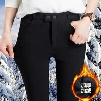 加绒加厚打底裤女外穿大码秋冬季2018新款黑色紧身铅笔小脚女裤子 3