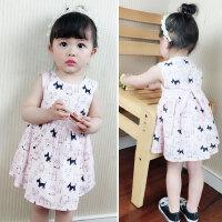 韩版宝宝背心裙夏女0一1岁-3婴儿裙纯棉女孩小女童可爱无袖连衣裙