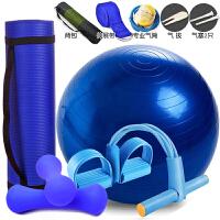 初学者健身套装瑜伽球瑜伽垫子女训练运动用品加厚宽拉力器三件套 蓝色 瑜伽垫+球+拉力器+哑铃 10mm(初学者)