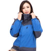 男女款秋冬户外运动加厚冲锋衣三合一两件套防泼水透气登山服 深蓝色-女款 XXL