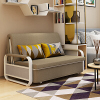 【品牌热卖】多功能沙发床可折叠坐卧两用单人双人小户型多功能布艺沙发客厅现代家具 灰色粗纹麻布 1.8米 2cm乳胶+5