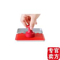 包邮得力9892秒干快干印台 大号方形金属财务用品红色印台 带印泥