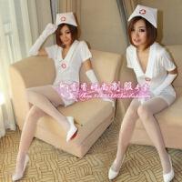2018新款女式性感透明游戏制服诱惑护士装短裙睡衣套装 护士套装+花边丝袜