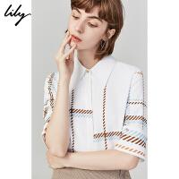 Lily2019秋新款女装简约格子条纹印花可拆袖口宽松短袖衬衫女4948