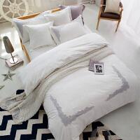 家纺纯棉韩式简约风素色蕾丝边绣花四件套六件套纯色全棉婚庆床上用品