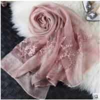 立体花朵精致丝巾百搭披肩两用长款纯色女刺绣桑蚕丝丝巾羊毛真丝围巾