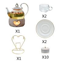 煮茶壶花茶壶煮水果壶套装陶瓷玻璃下午花茶杯茶具蜡烛加热温茶器 600ML高把壶+心型炉+2玻璃杯碟 送杯架