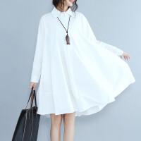 时尚文艺大码长袖纯色POLO领连衣裙透气宽松显瘦大码长袖连衣裙女
