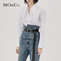 MOCO秋季新品尖领绑带字母刺绣纽扣衬衫MA183SHT101 摩安珂