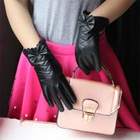新款冬季真皮女式手套 柔软绵羊皮手套 蝴蝶结真皮手套 黑色