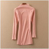 特价 春季纯色打底衫半高领长袖保暖套头针织衫女 50133