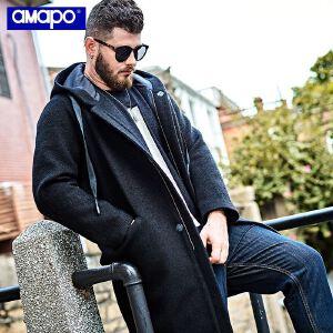 【限时抢购到手价:319元】AMAPO潮牌大码男装胖子加肥加大码宽松嘻哈长款大衣肥佬外套男潮