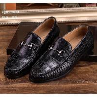 鳄鱼皮皮鞋男真皮休闲商务泰国鳄鱼肚皮腹皮皮鞋男士皮鞋 黑色