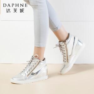 达芙妮正品靴子系带内增高运动舒适时尚亮面圆头坡跟优雅女靴短靴