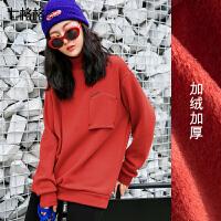 冬季加绒卫衣女2017新款韩版宽松学生百搭高领个性加厚套头上衣潮
