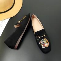 O'SHELL欧希尔新品026-166-35英伦磨砂绒面平跟女士单鞋