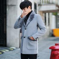 秋冬毛呢大衣男中长款潮流英伦纯色青年修身风衣加厚帅气男装 灰色 M